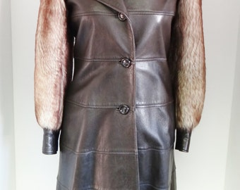 Vintage Leather Coat 1970s with Sheepskin Shearling Fur Sleeves and Collar By Beged-Or UK Size 8 - 10 Made in Israel