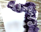 SALE-- Purple Ruffle Crochet Scarf