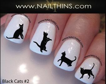 Black Cat Nail Decal Set #2 Kitty Nail Art  Nail Designs NAILTHINS