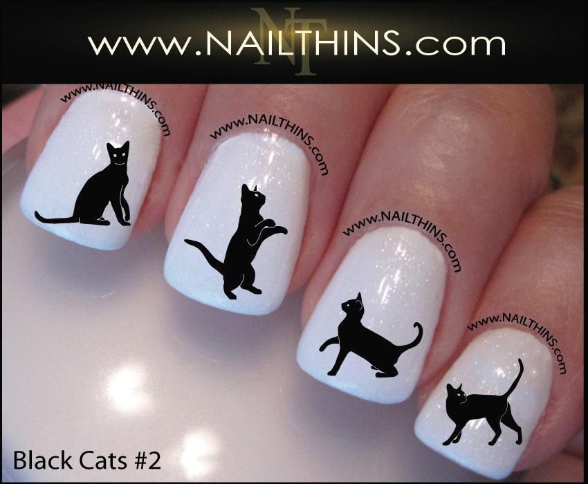 🔎zoom - Black Cat Nail Decal Set 2 Kitty Nail Art Nail Designs