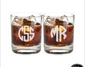 TWO Custom Whiskey Scotch Bourbon Rocks Glasses, SHIPS FAST, Engraved Rocks Glasses, Personalized Whiskey Glasses, Groomsmen Glasses
