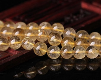 PROMOTION 5mm-8mm Natural Gold Rutilated Quartz Beads, Smooth Round, 15.4 Inch Strand (GF20)