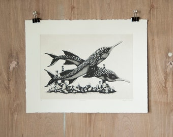 Cavebeak - Silkscreen Print - Scientific Study