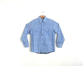 Vintage Work Shirt Flannel Lined Chambray Men's Medium