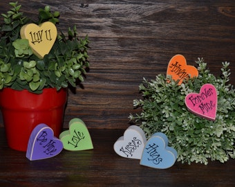 Candy Hearts Wood Block Set Valentine's Decor Valentine's Day House Warming Gift Valentine's Day Decoration Sweetheart Candies