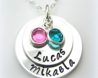2 Disc Personalized Handstamped Jewelry with 2 birthstone charms