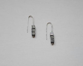 Pyrite earrings, simple, minimalist, geometric