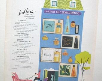 Vintage Maison Lentheric perfumes ad, mid century 1950s, retro kitsch home decor