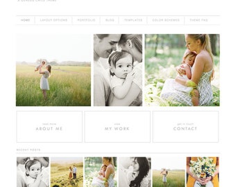 wordpress theme - everett mae - mobile responsive wordpress template with custom homepage and portfolio - INSTANT DOWNLOAD