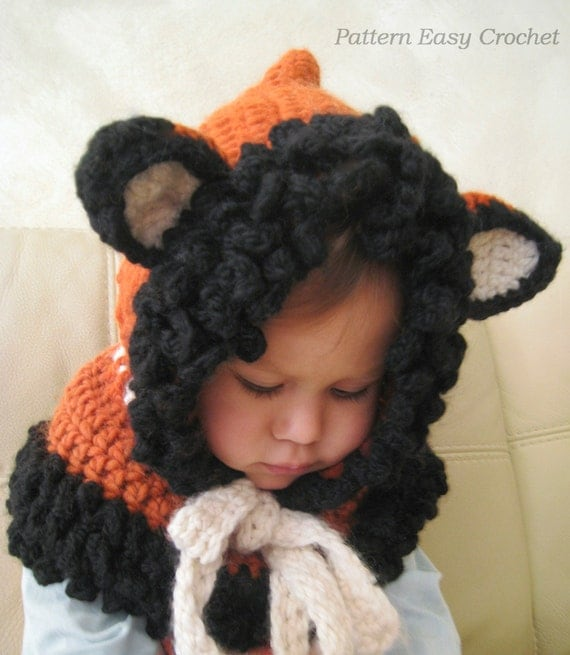 Crochet Fox Hooded Cowl Pattern : Crochet Pattern Hooded Fox Cowl in 4 sizes from toddler to
