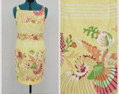 Vintage 90s Maggy London Light Yellow Novelty Dress, Seashell Print, Sleeveless Thin Strap, Knee Length Sheath Dress, Size M