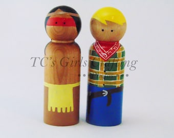 Cowboys and Indians peg people,  natural peg toy, cowboy pegs, Indian pegs, peg people, wooden peg people, peg toys, wooden toys