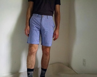 Blue and White Checkered Men's Polo Shorts size 30