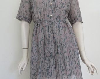 Gorgeous 70's 80's Vintage Up-Cycled Pleated Mini Dress  / Retro Print / Medium Large / Boho