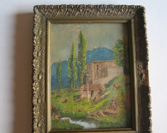 antique original water colour painting, old Greek mansion