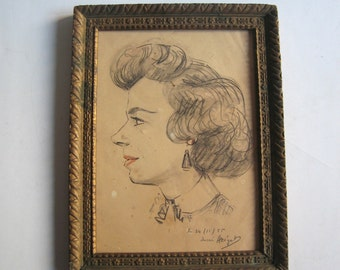 50's original drawing, lady portrait