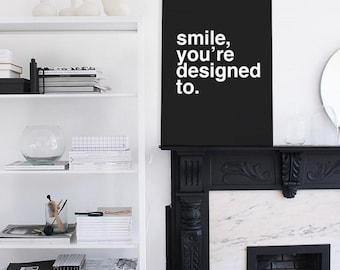 Smile - Positive typographic print