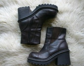 90s BOOTS / Platform VEGAN Brown Chunky Faux Leather Boots / women's 8