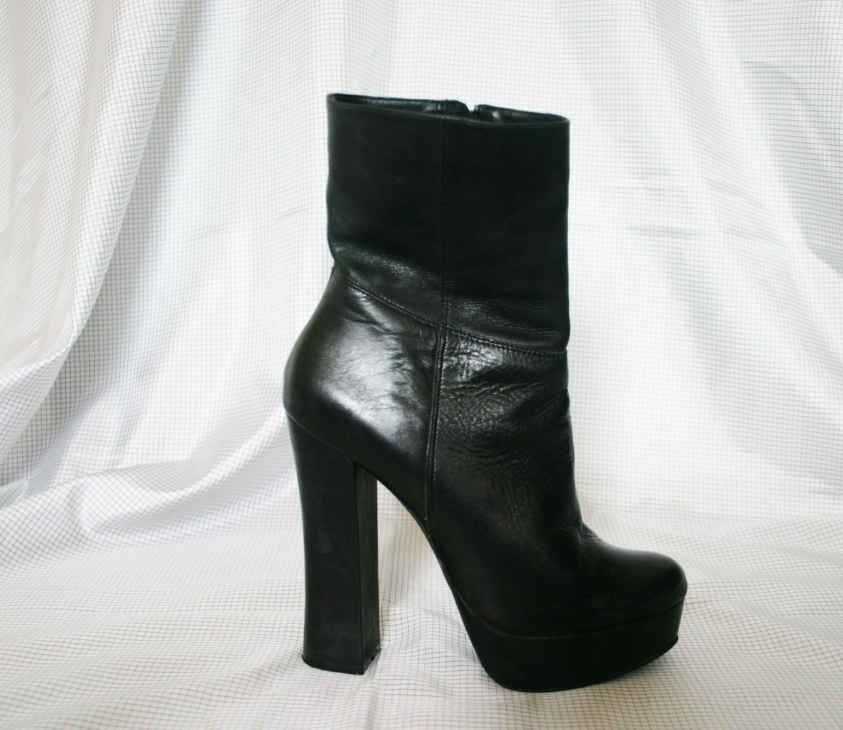 90s platform black leather high heel boots by