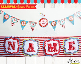 Complete Circus Banners with for Circus Birthday. DIY Carnival Banners Printables for Carnival Party. Personalized Circus / Carnival Bunting