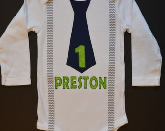 Personalized Birthday Chevron Baby Boy Tie bodysuit or shirt with suspenders-  First Birthday Boy Outfit