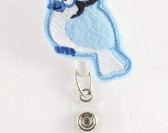 Blue Jay - Felt Badge Reel - Nurse Badge Holder - Retractable ID Badge - Cute Badge Reels - RN Badge Reel - Peds - Teacher Name Badge Clip
