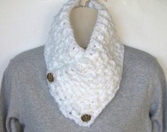 White Crochet Cowl Button Cowl Neckwarmer Chunky Scarf Circle Scarf Winter Scarf