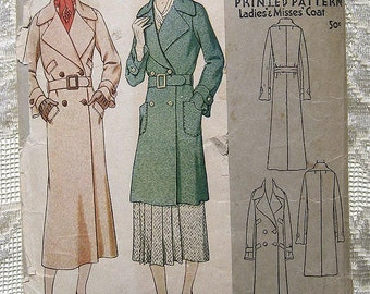 """Vintage 30s Belted Trench Coat.  McCall Printed Sewing Pattern 6713.  Bust 36"""""""
