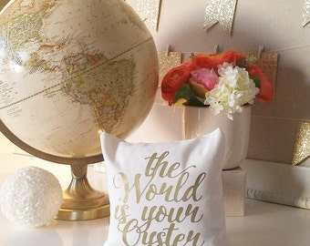SALE! The World is Your Oyster Throw Pillow Cover - Cream Metallic Gold or Silver Monogram