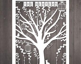 DIY Family Tree Papercut Template - personalised family tree paper cut template to cut out yourself