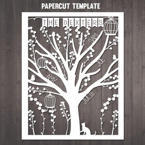 Family Tree Papercut Selbermachen personalisierte Stammbaum