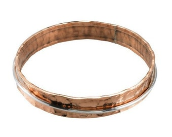 Handmade Handcrafted Designer Hammered Copper Concave Bangle Bracelet with Sterling Silver Moveable Ring