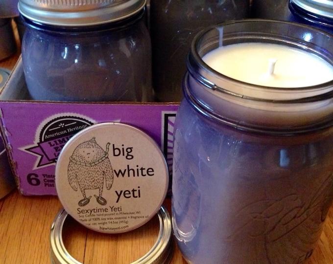 Limited Edition Sexytime Yeti Soy Candle- 16oz Purple Mason Jar