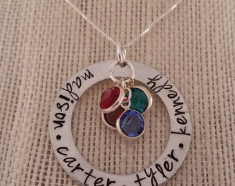 Hand Stamped Mother/Grandmother Necklace with birthstones