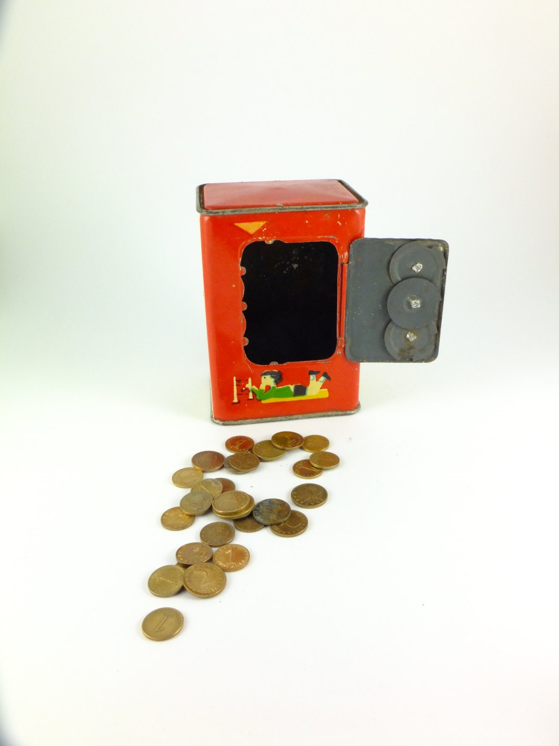 Vintage metal toy combination safe bank piggy bank by for How to open a tin piggy bank