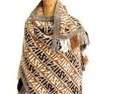 Boho Poncho Cape Shawl Angora Wool