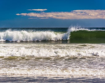 Waves in the Atlantic Ocean at Old Orchard Beach, Maine - Beach Landscape Photography Fine Art Print or Wrapped Canvas