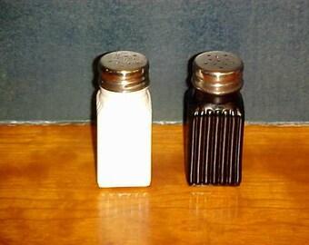 Black and White Glass Salt & Pepper Shaker Set