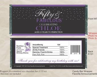Fifty and Fabulous, 50th Birthday, 50th Party Favor, 40 and Fabulous, Birthday Candy Bar, 50th Party, Adult Birthday Favor (Set of 12)(W725)