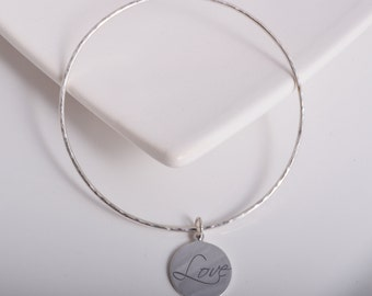 Sterling silver love charm bangle round hammered charm 925 silver stacking bangle