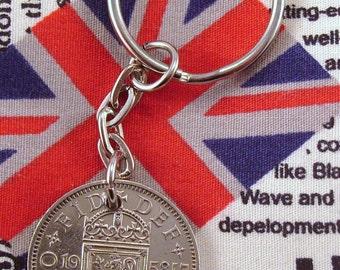1958 Old Scottish Shilling Coin Keyring Key Chain Fob Queen Elizabeth