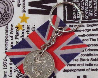 1963 Old Scottish Shilling Coin Keyring Key Chain Fob Queen Elizabeth