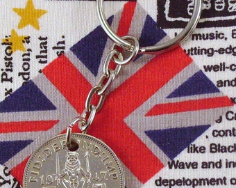 1947 Old Scottish Shilling Coin Keyring Key Chain Fob King George VI