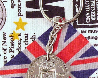 1956 Old Scottish Shilling Coin Keyring Key Chain Fob Queen Elizabeth