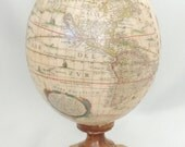 Old World Globe Map of North and South America Hand Cut Print on Decorated Ostrich Egg Faberge Style Decorated Ostrich Egg Art