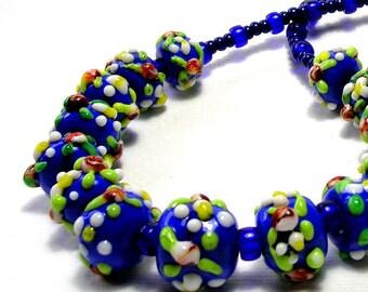 Blue Floral Art Bead Necklace - Handmade Lampwork Glass Art Beads - Handmade Necklaces