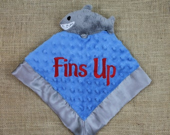 Fins Up, Baby Lovey, Jimmy Buffet, Parrothead, Parrot Head, Shark, Lovey Blanket, Baby Gift, Baby Girl, Baby Boy, Minky Baby Blanket, Lovey