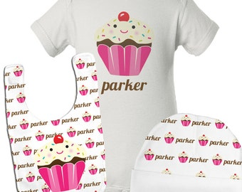 Personalized Baby Girl Gift Set, Baby Girl Clothes, Cupcake Baby Shower Gifts