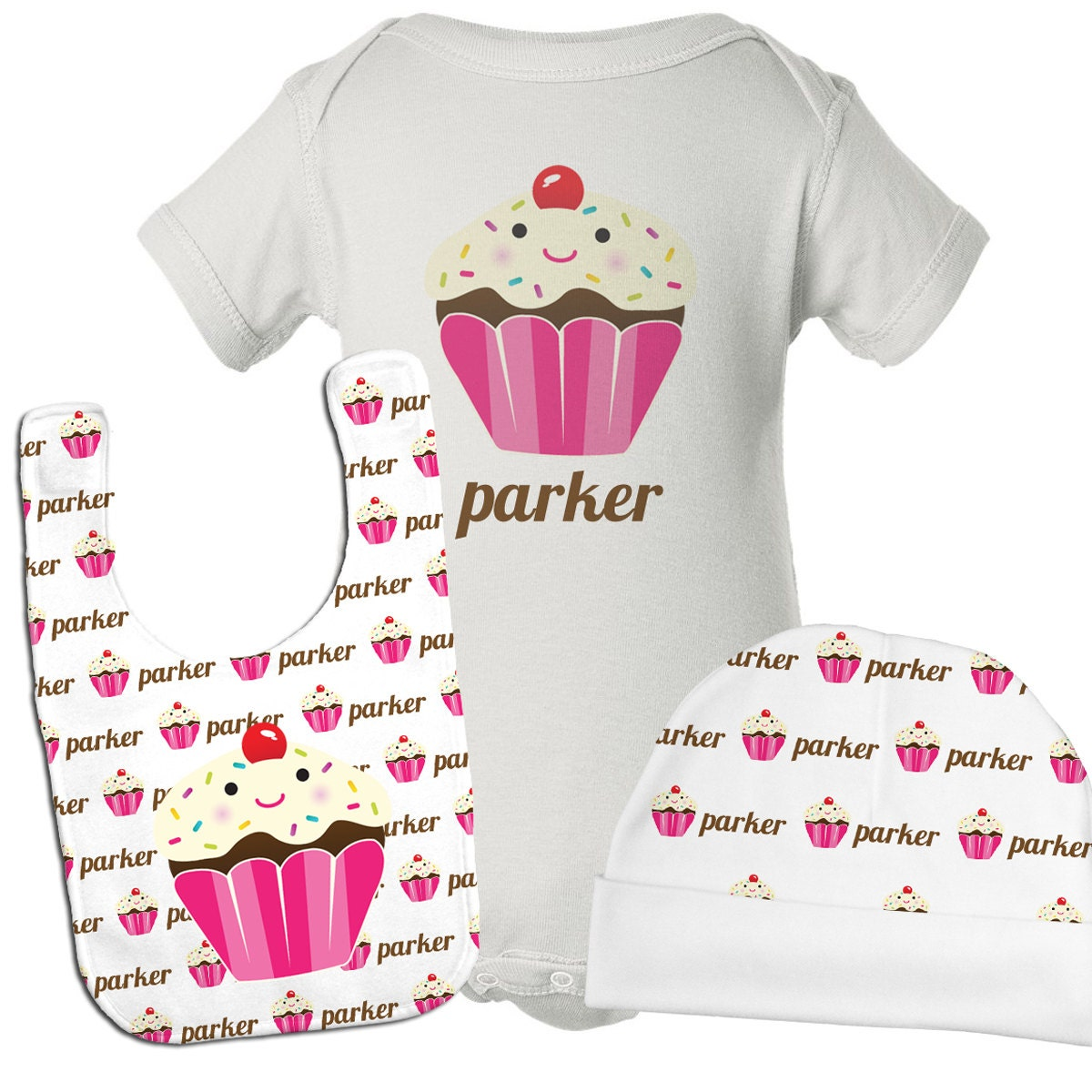 Personalized Baby Girl Gift Set Baby Girl Clothes Cupcake