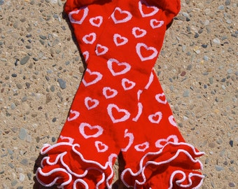 Leg Warmers - Red with White Hearts and Ruffle Bottom